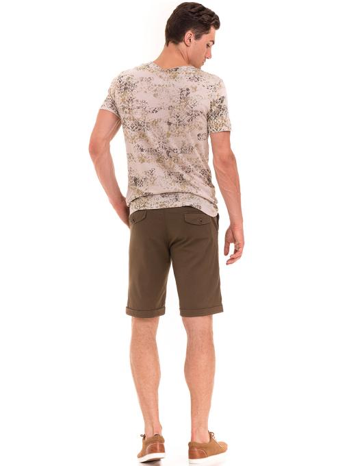 Мъжка тениска с овално деколте XINT 118- цвят светло бежово E
