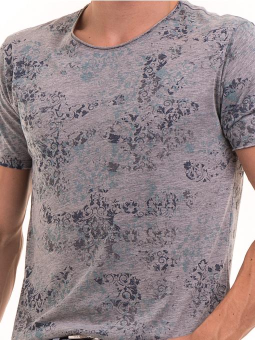 Мъжка тениска с овално деколте XINT 118 - сива D