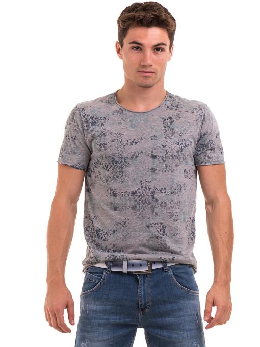 Мъжка тениска с овално деколте XINT 118 - сива