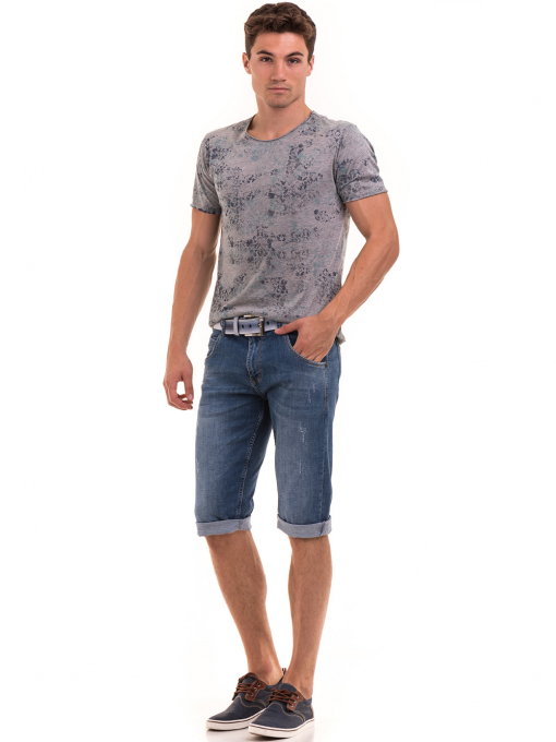 Мъжка тениска с овално деколте XINT 118 - сива C