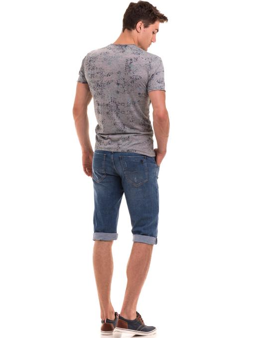Мъжка тениска с овално деколте XINT 118 - сива E