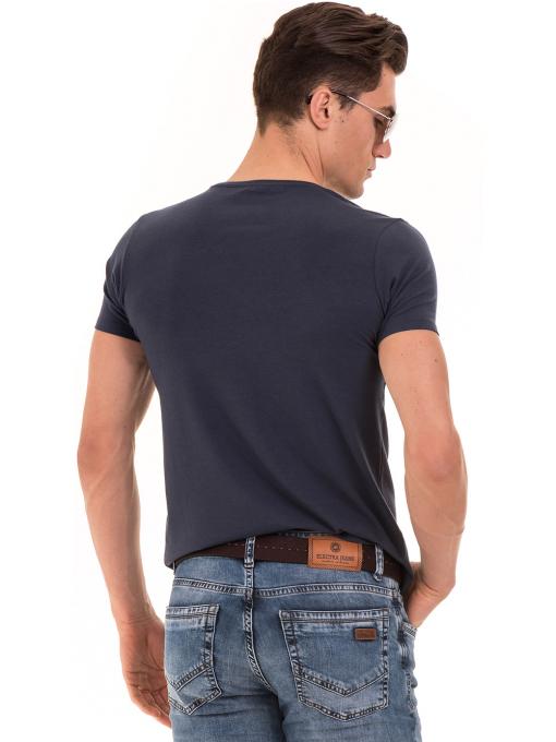 Мъжка вталена тениска XINT 856 - тъмно синя B
