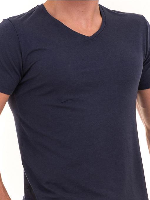 Мъжка тениска с V-образно деколте XINT 857 - тъмно синя D