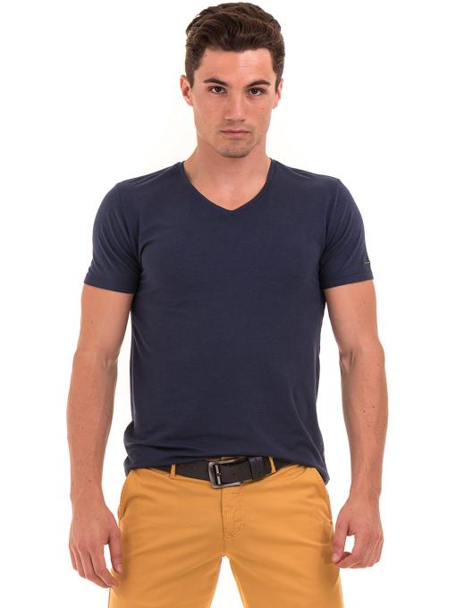 Мъжка тениска с V-образно деколте XINT 857 - тъмно синя