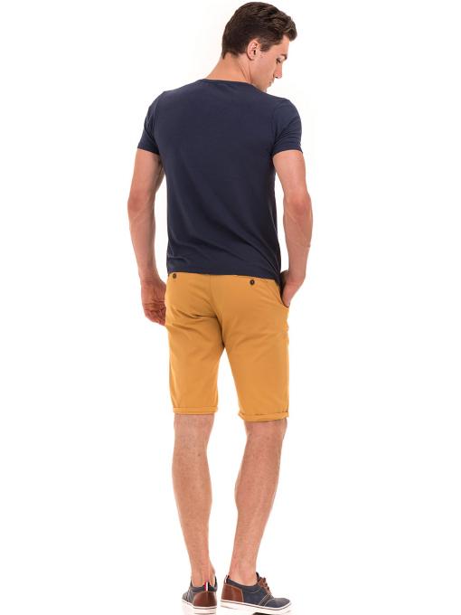 Мъжка тениска с V-образно деколте XINT 857 - тъмно синя E