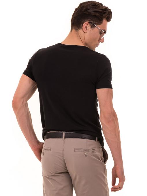 Мъжка тениска с обло деколте и щампа XINT 882 - черна B