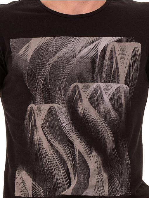Мъжка тениска с обло деколте и щампа XINT 882 - черна D