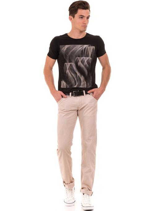 Мъжка тениска с обло деколте и щампа XINT 882 - черна C