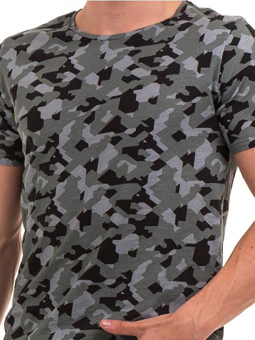 Мъжка тениска с абстрактна шарка XINT 923 - цвят каки D