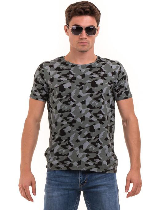 Мъжка тениска с абстрактна шарка XINT 923 - цвят каки