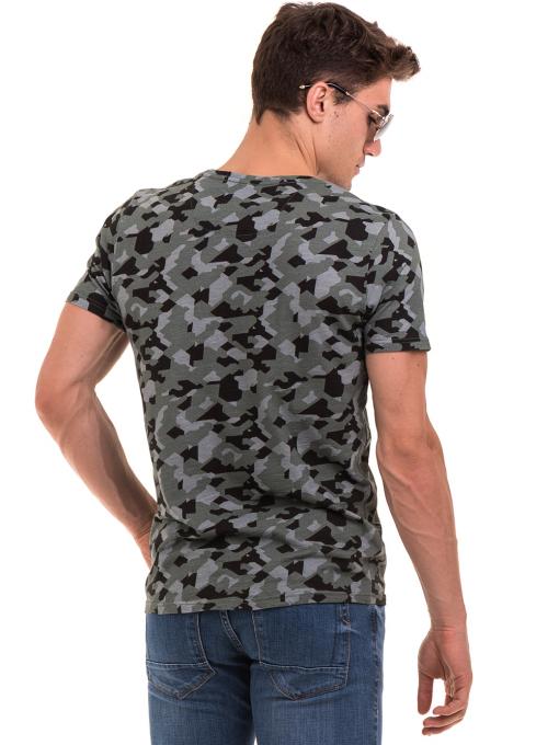 Мъжка тениска с абстрактна шарка XINT 923 - цвят каки B