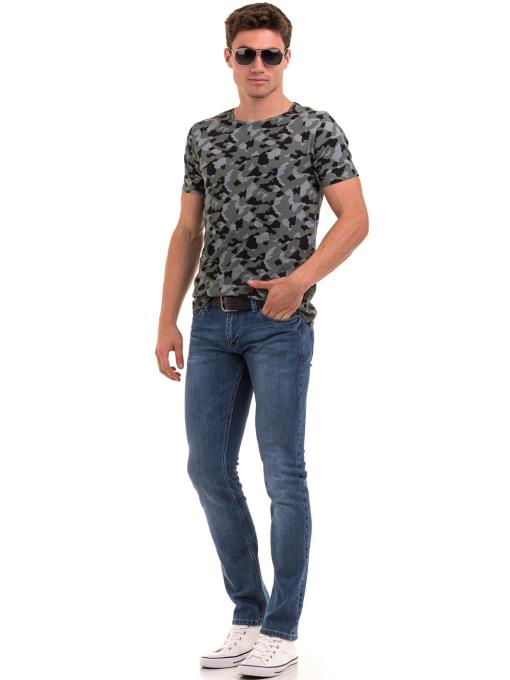 Мъжка тениска с абстрактна шарка XINT 923 - цвят каки C