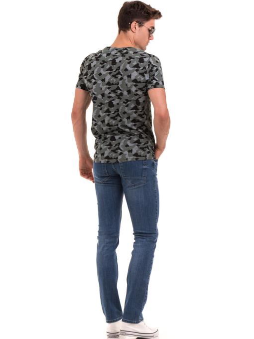 Мъжка тениска с абстрактна шарка XINT 923 - цвят каки E