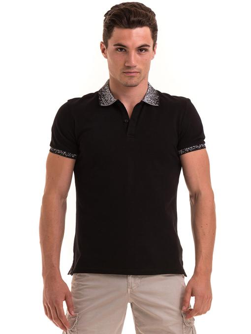 Мъжка блуза с къс ръкав и яка  XINT 971 - черна