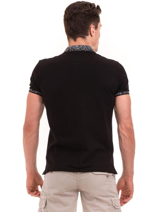 Мъжка блуза с къс ръкав и яка  XINT 971 - черна B