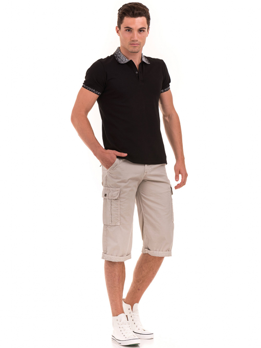 Мъжка блуза с къс ръкав и яка  XINT 971 - черна C