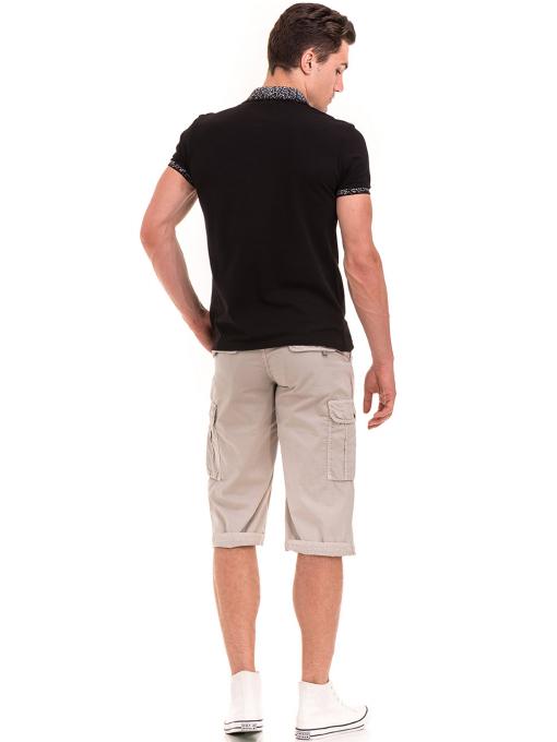 Мъжка блуза с къс ръкав и яка  XINT 971 - черна E