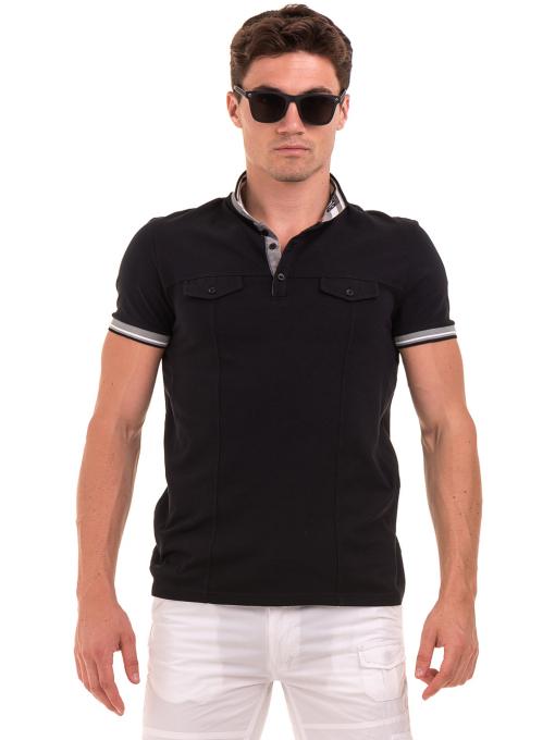 Мъжка блуза с яка BLUE PETROL 3054 - черна