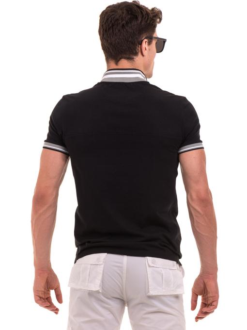 Мъжка блуза с яка BLUE PETROL 3054 - черна B