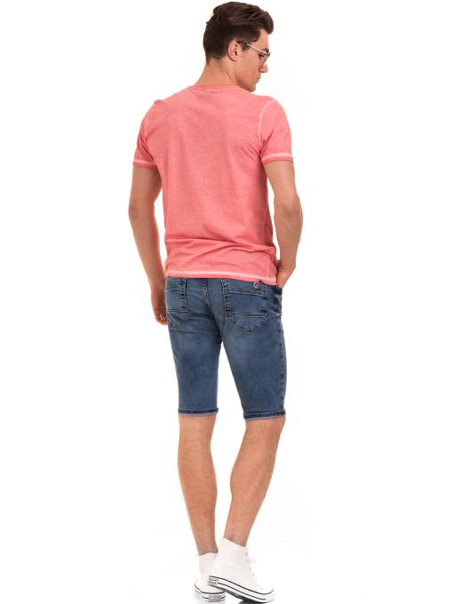 Мъжка тениска с обло деколте BLUE PETROL 3069 - розова E