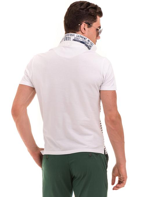 Мъжка блуза на райе BLUE PETROL 3095 - бяла B