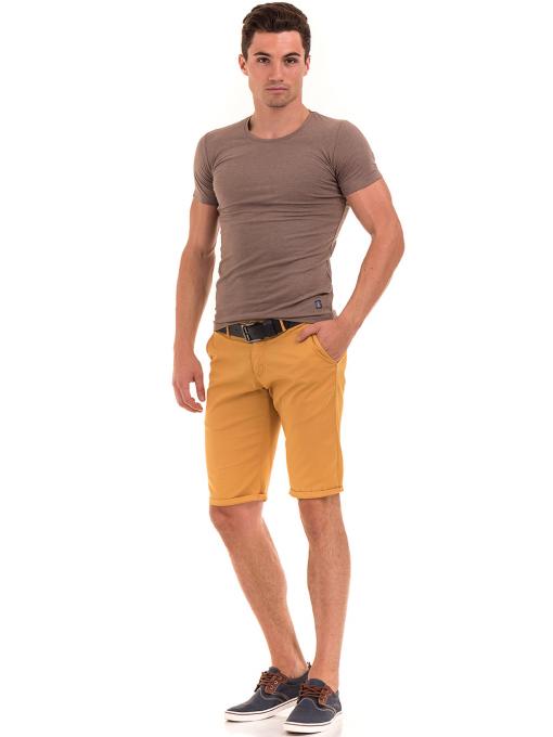 Мъжки спортни-елегантни бермуди ELECTRA 11101 - цвят горчицаC2