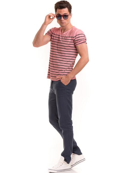Мъжка тениска с V-образно деколте BLUE PETROL 3114 - розова C