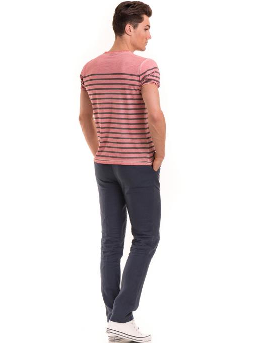 Мъжка тениска с V-образно деколте BLUE PETROL 3114 - розова E