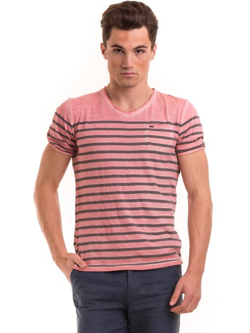 Мъжка тениска с V-образно деколте BLUE PETROL 3114 - розова