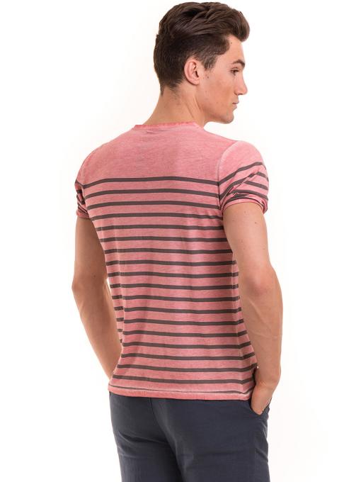 Мъжка тениска с V-образно деколте BLUE PETROL 3114 - розова B