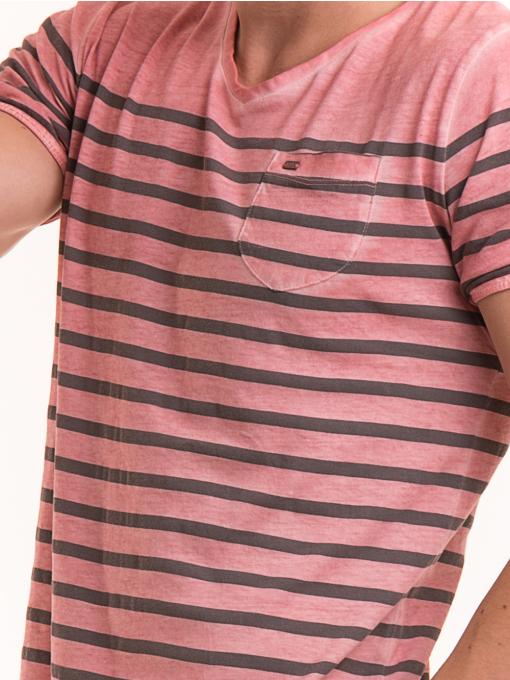Мъжка тениска с V-образно деколте BLUE PETROL 3114 - розова D