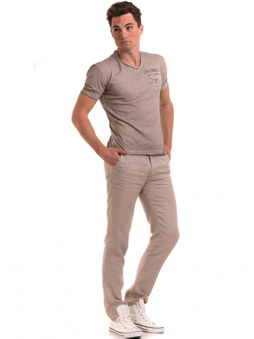 Мъжка памучна тениска с джоб BLUE PETROL 3118 - светло бежова C
