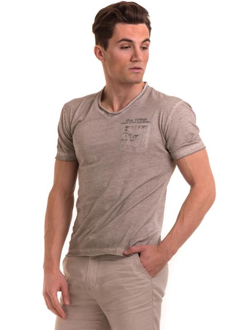 Мъжка памучна тениска с джоб BLUE PETROL 3118 - светло бежова
