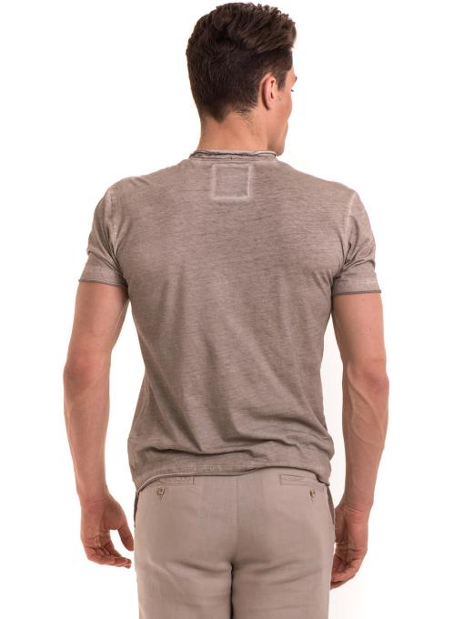 Мъжка памучна тениска с джоб BLUE PETROL 3118 - светло бежова B
