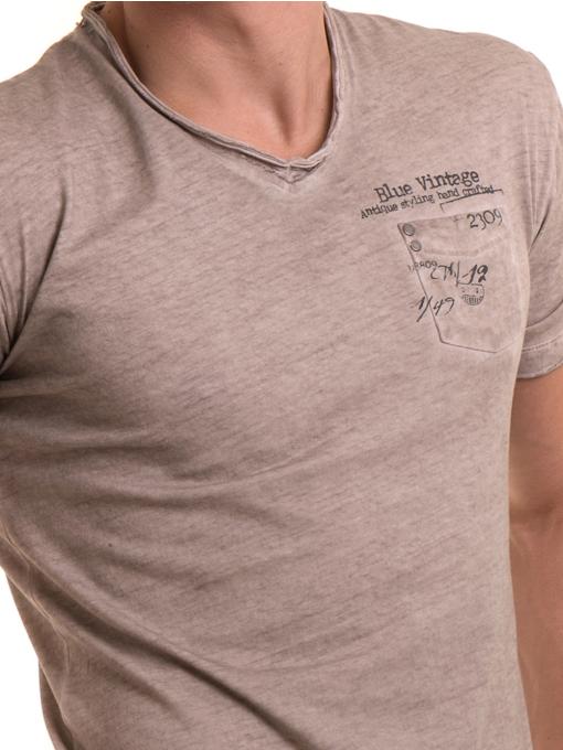 Мъжка памучна тениска с джоб BLUE PETROL 3118 - светло бежова D