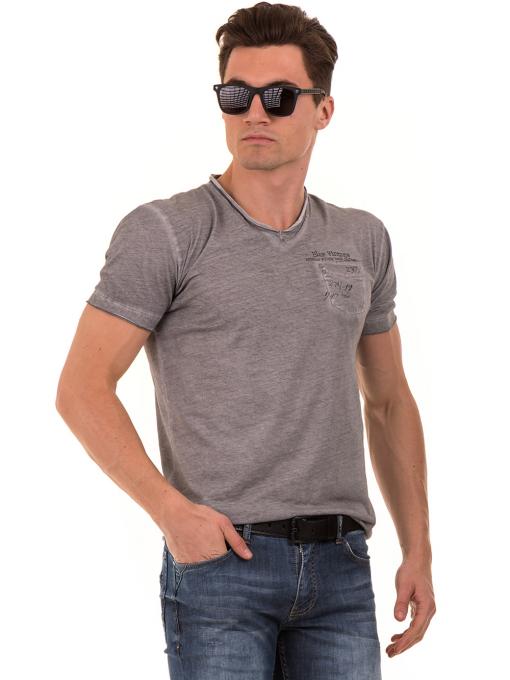 Мъжка памучна тениска с джоб BLUE PETROL 3118 - сива