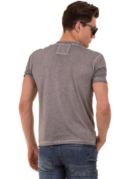 Мъжка памучна тениска с джоб BLUE PETROL 3118 - сива B