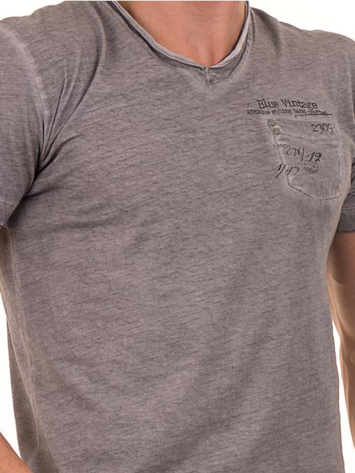 Мъжка памучна тениска с джоб BLUE PETROL 3118 - сива D