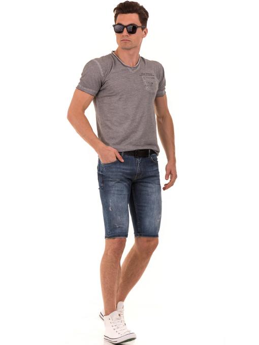 Мъжка памучна тениска с джоб BLUE PETROL 3118 - сива C