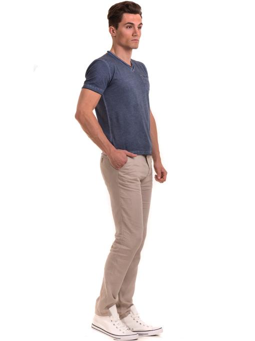 Мъжка памучна тениска с джоб BLUE PETROL 3118 - тъмно синя C