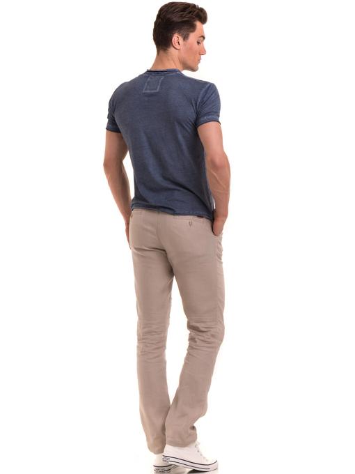 Мъжка памучна тениска с джоб BLUE PETROL 3118 - тъмно синя E