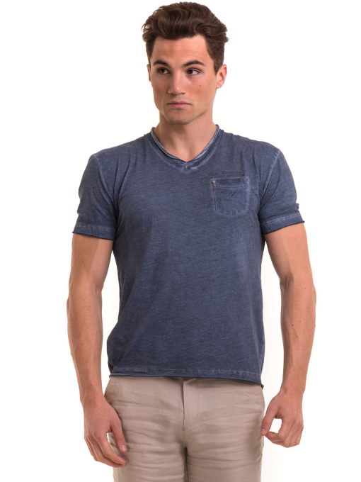 Мъжка памучна тениска с джоб BLUE PETROL 3118 - тъмно синя