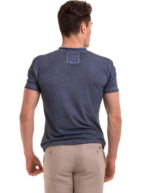 Мъжка памучна тениска с джоб BLUE PETROL 3118 - тъмно синя B