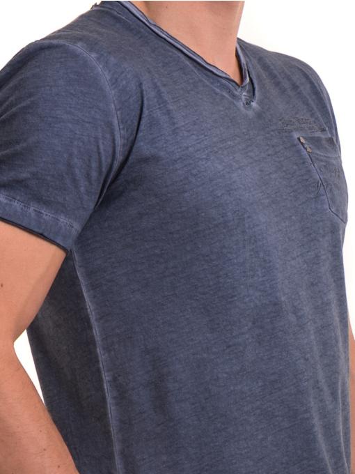 Мъжка памучна тениска с джоб BLUE PETROL 3118 - тъмно синя D