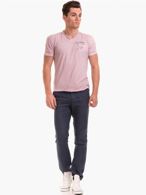 Класически мъжки ленен панталон XINT 484 - син C2