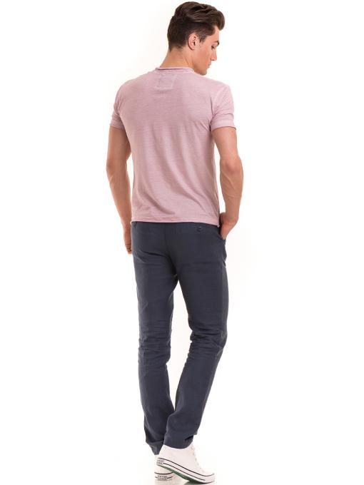 Мъжка памучна тениска с джоб BLUE PETROL 3118 - розова E