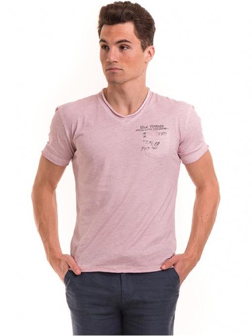 Мъжка памучна тениска с джоб BLUE PETROL 3118 - розова