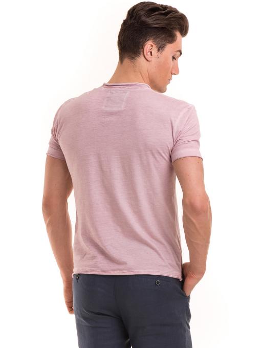 Мъжка памучна тениска с джоб BLUE PETROL 3118 - розова B