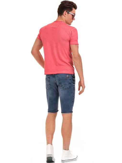 Мъжка памучна тениска с джоб BLUE PETROL 3118 - цвят корал E