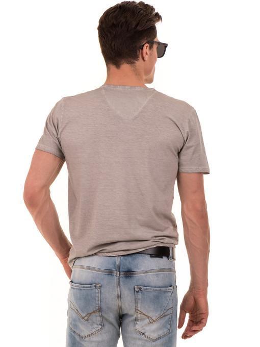 Мъжка тениска с V-образно деколте BLUE PETROL 3119 - светло бежова B